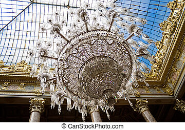 Chandelier - Baccarat chandelier in Dolmabahce Palace,...