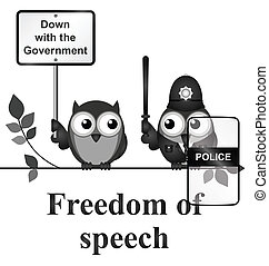 Freedom of Speech - Monochrome comical freedom of speech...