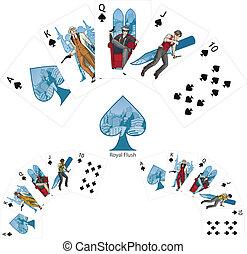 Royal Flush Spades poker winning combination Mafia card set...