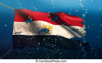 Egypt Under Water Sea Flag National Torn Bubble 3D