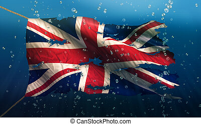 England UK Under Water Sea Flag National Torn Bubble 3D