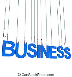 """Text """"BUSINESS"""" hanging on a fishing hook. Isolated over..."""