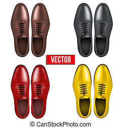 Set of Male fashion classic shoes. Vector.