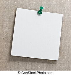 Note white paper tacked on a wall