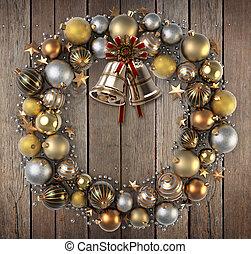 Kranz, aus, Holz, Weihnachten, hintergrund