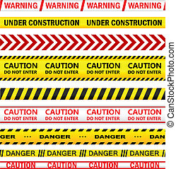 Yellow warning tapes with texts - Yellow security warning...