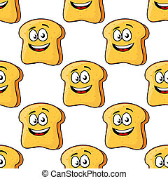 Seamless pattern of cartoon bread toast slices