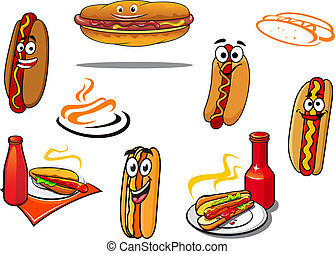 Hotdog cartoon characters and symbols set for fast food,...