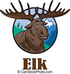 Cartoon moose or elk - Cute funny cartoon smiling moose or...