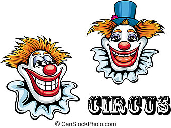 Circus cartoon clowns characters - Funny circus happy...
