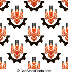 Seamless pattern of agriculture emblem