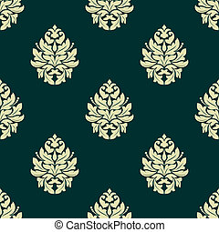 Floral light green damask seamless pattern - Light green...