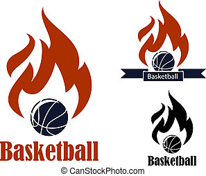 Basketball sport emblems with basketball ball, ribbon...