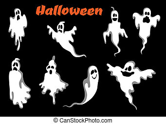 Night halloween ghosts set