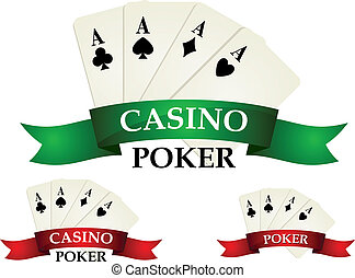 Casino gambling symbols and signs with poker cards and...
