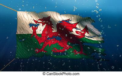galles, sous, eau, mer, drapeau, national,...