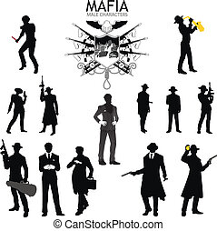 Male characters Silhouettes retro Mafia set - Set of male...