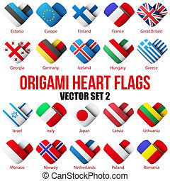 Set Flag icons in the form of heart. I love it. Vector