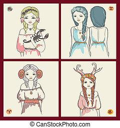 The signs of the zodiac. - The signs of the zodiac, Scorpio,...