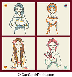 The signs of the zodiac. - The zodiac signs of Libra, Leo,...
