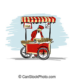Pitchman with cart of food for your design