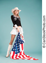 Pinup girl with american flag - Beautiful pin-up style...