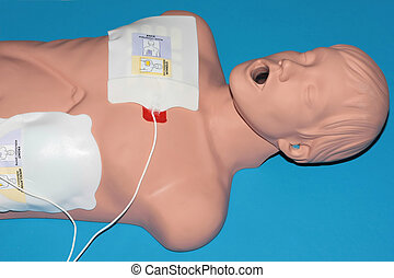 CPR dummy blue - A dummy recieving CPR on a blue background.