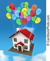 House with balloon in the sky and clouds