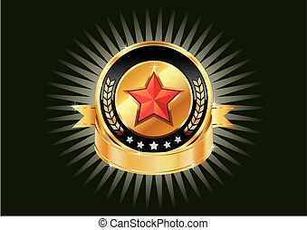 Gold metallic shields and red stars