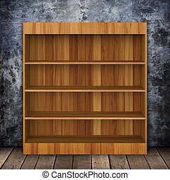 Grungy wall with Wooden book Shelf and Old wood background.