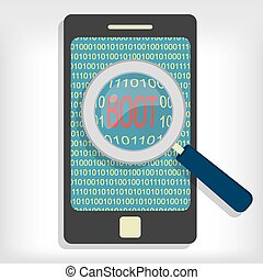 Boot message on smartphone - Magnifying glass showing boot...