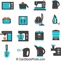 Icons with kitchen utensils - set of flat icons with home...