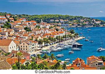 Yachting waterfront of Hvar island in Dalmatia, Croatia