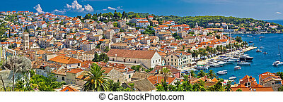 Town of Hvar aerial panorama