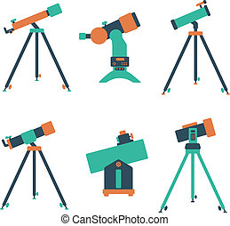 telescope icon set of flat icons on a white background