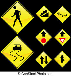 Eight Diamond Shape Yellow Road Signs Set 4 - Vector...