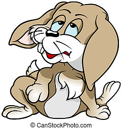 Tired Rabbit - Colored Cartoon Illustration, Vector