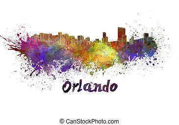 Orlando skyline in watercolor splatters with clipping path