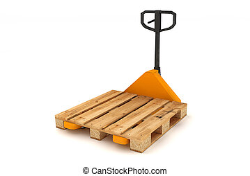 Hand forklift with wooden pallets - Hand forklift with...