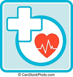 health care medical icon - health care icon with heart and...