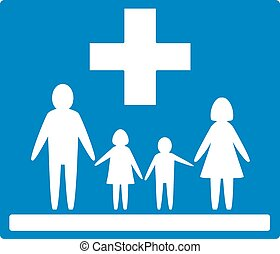 family medicine icon - blue isolated medicine icon. family...