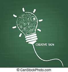 Creative light bulb handwriting style on blackboard with...