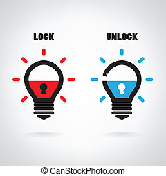 Creative light bulb idea concept with padlock symbol. Security sign , business ideas