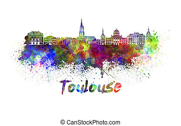 Toulouse skyline in watercolor splatters with clipping path
