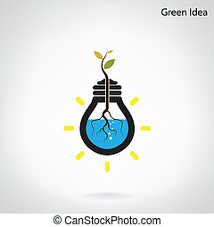 Green and initiative concept. Tree of green idea shoot grow...