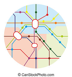 transport - fictive route map of a public transport system