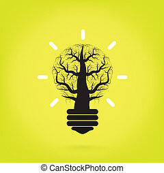 Green and initiative concept. Tree of green idea shoot grow in a light bulb.