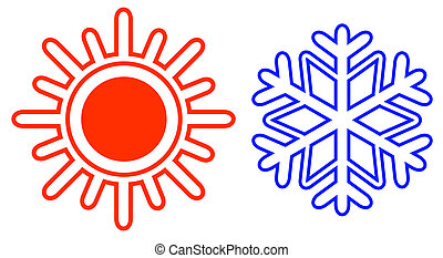 isolated sun and snowflake icons on white background