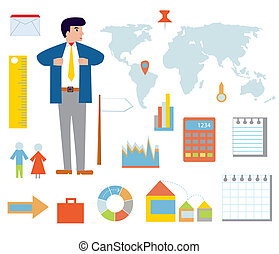 Business infographic set with icons and businessman
