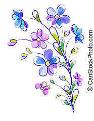 Vertical background with bright violet flowers - White...